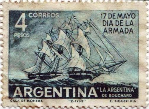 """Estampilla con la imagen de """"La Argentina"""", embarcación de Bouchard."""