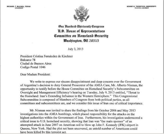 Primera página de la carta del gobierno de EE.UU.