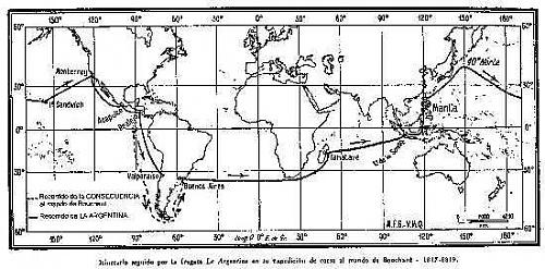 "Recorrido de Hipoólito Bouchard a bordo de ""La Argentina""."